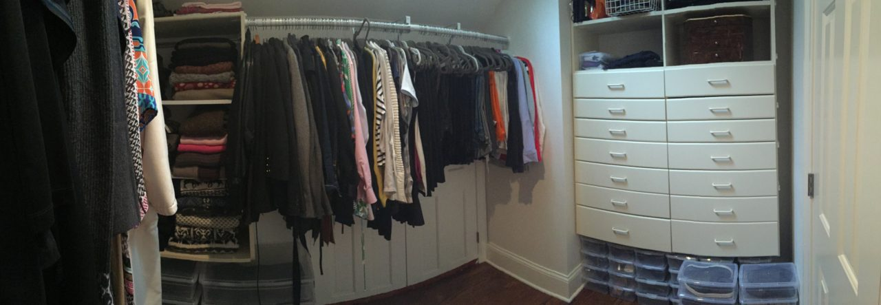 Closet organized by clothing category for simplified mornings.
